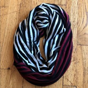 Black white and pink infinity scarf